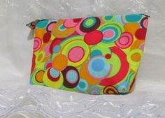 Zipper pouch orange and yellow and blue fabric by DebbiesDesigns3
