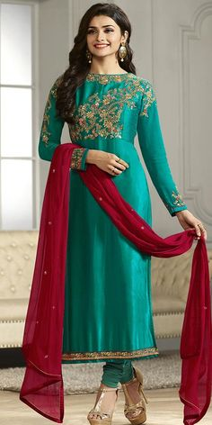 Prachi Desai In Teal Green Georgette Straight Suit With Dupatta.