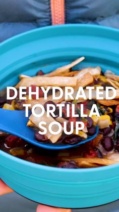 This Dehydrated Tortilla Soup is a great lightweight camping or backpacking meal! Full of flavor and veggies this is a dinner you will really look forward to on the trail. Dehydrated Backpacking Meals, Camping Meals, Backpacking Recipes, Ultralight Backpacking, Camping Checklist, My Recipes, Dinner Recipes, Cooking Recipes, Dehydrated Food Recipes