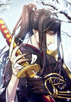 Chica Anime Manga, Manga Boy, Anime Art, Touken Ranbu, Anime Black Hair, Samurai Love Ballad Party, D Gray Man, Bishounen, Anime Eyes