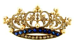 Edwardian Sapphire Diamond & Pearl Crown Brooch (BO 124)