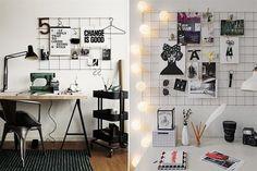 Espacios de trabajo inspiradores  Para decorar y tener ayuda-memorias a la vista, una alternativa interesante es apelar a una reja cuadriculada.         Foto:Myparadissi.com