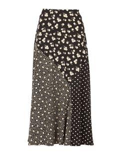*Izabel London Black Mixed Skater Skirt - View All New In - New In - Dorothy Per. - Preto e Branco - Best Skirt Black Midi Skirt, Skater Skirt, Blouse And Skirt, Dress Skirt, Silk Skirt, Long Skirt Outfits, Modelos Fashion, Mode Hijab, A Line Skirts