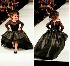 Hi-Lo Long Sleeve Flower Girl Dresses Children Birthday Dress Lace Kids Wedding Party Dresses 1028-12