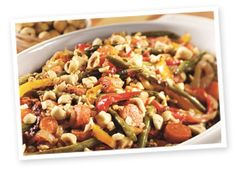 Mediterranean Roasted Vegetables with Hazelnuts. This recipe from the International Tree Nut Council sounds delicious. I'm sure you could substitute other nuts--like walnuts or almonds and use olive oil instead of butter. Also, substituting other veggies, like brussel sprouts would be great as well.