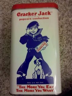 Antiques Decorative Tins | Cracker Jack Antique Tin Canister Decorative Storage Completed