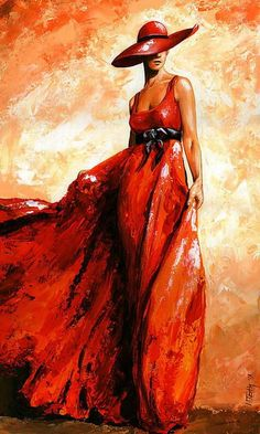cuadros-mujeres-con-vestidos-rojos