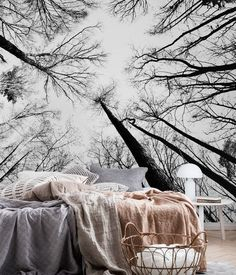 Treetops wall mural from happywall #happywall #branches #black #bedroom #large #wallmural #wallmurals #beautiful #white #mural #autumn #wallpaper #fisheye #wallpapers #forest #trees #wallpapermuralsforest #beautifulbedrooms
