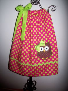 Owl Pillowcase Dress Pink Green Perfect for Birthday by molliepops