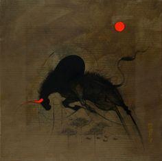'Bull' by artist Amol Pawar. Read more - https://www.artzolo.com/users/amol-pawar   #art #painting #bull