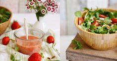Feldsalat mit Pinienkernen und Erdbeerdressing
