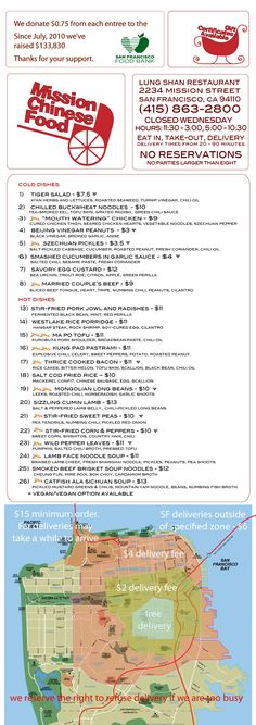 Mission Chinese Food (look for Lung Shan Restaurant Sign) Menu