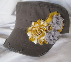 GREY Cadet Military Distressed Army Hat with by theraggedyrose, $35.00