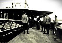 Tsarina Alexandra, Anna Vyrubova, Tsar Nicholas II and officer at the Standart.