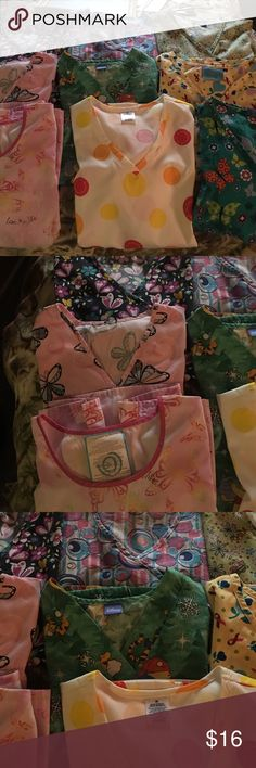 Lot of Medium Scrubs Good Condition BUNDLE Variety of Scrubs all in Good Condition One NWT All Medium I just have way to many 9 Print Tops in all One is Winnie the Pooh Christmas. Treat yourself to this BUNDLE today Tops