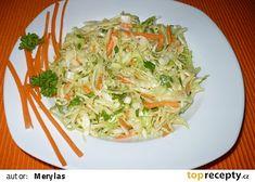 VPikantní zelný salát Healthy Salads, Healthy Eating, Salad Dressing, Vinaigrette, Lchf, Cabbage, Spaghetti, Low Carb, Treats