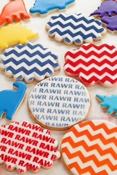 Fun Little Dinosaur Cookies -Sugar Cookies Decorated with Royal Icing Cut Out Cookies, Cute Cookies, Sugar Cookies, Dinosaur Cookies, Twin First Birthday, Royal Icing Decorations, Birthday Centerpieces, Birthday Cookies, Edible Art