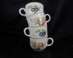 Set of Four Fruit Decorated Porcelain Cups by AppalachianAttic