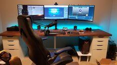 Stream setup. Custom Computer Desk, Pc Gaming Desk, Computer Desk Setup, Gaming Room Setup, Pc Setup, Office Setup, Gaming Desktops, Tech Room, Gamer Room
