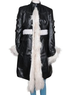 Color: Black Material:Real Leather or (You have option for customize) Internal: Soft Faux Fur or (You have option for customize) Closure: Front Open Style C Long Leather Coat, Long Coats, Half Sleeves, Selena Gomez, Faux Fur, Fur Coat, Jackets, Color, Black