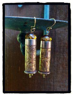 Etched bullet casing earrings by LjBlock Designs Bullet Earrings, Bullet Jewelry, Shell Jewelry, Drop Earrings, Bullet Casing, Shells, Metal, Diy, Design