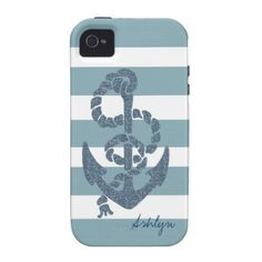 Nautical Stripes Anchor Case For The iPhone 4