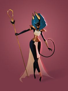 "elisebrave: ""My entry for the Character Design Challenge of this month! The theme is Egyptian Gods and I chose Bastet. Egyptian Mythology, Egyptian Goddess, Egyptian Art, Bastet Goddess, Egyptian Jewelry, Arte Black, Black Art, Goddess Art, Gods And Goddesses"