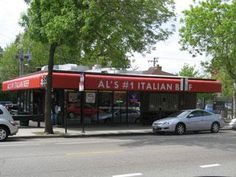 "across the street from Mario's and another very popular place:  ""Al's Italian Beef, Taylor Street, Chicago"""