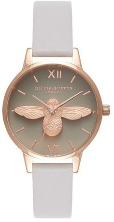 Bee Leather Strap Watch, whimsical style on a beautiful rose gold-plated watch paired with a slim leather strap. [ad]