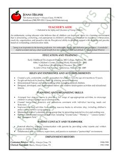 Teacher\'s aide resume example for a mom who had completed her ...