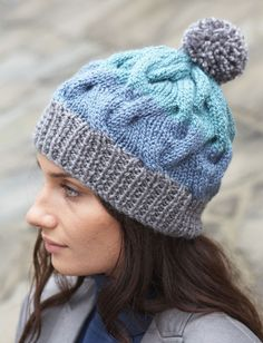 Striped Cable Hat knit in the round