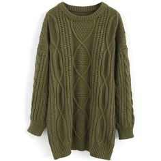 Chicwish Cozy Everyday Cable Knit Longline Sweater in Army Green found on Polyvore featuring tops, sweaters, green, brown top, longline sweater, brown cable knit sweater, green sweater and green top