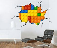 Lego Wall Sticker Effect Style Brick Wall - Apply this wall decal / sticker in any flat surface (walls windows doors furniture).  sc 1 st  Pinterest & LEGO: Maxi Wall Stickers (Large) | Pinterest | Lego wall Wall ...