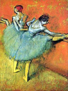 Danseuses à la barre by Edgar Degas. Edgar Degas was an Impressionist who's main subject was dance. Edgar Degas, Degas Ballerina, Post Impressionism, Impressionist Art, Dutch Artists, Famous Artists, Ballerine Degas, Monet, Degas Paintings
