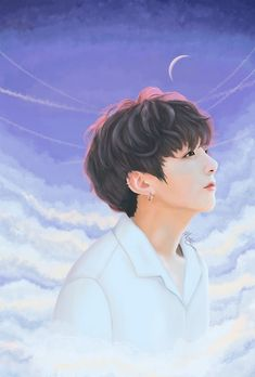 Jungkook cloudy sky fanart by anartycus Jungkook Fanart, Jungkook Cute, Kpop Fanart, Bts Chibi, Bts Make It Right, Bts Drawings, Fan Art, Bts Fans, Bts Pictures