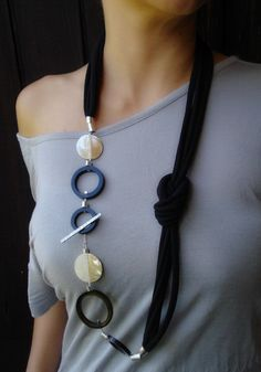Handmade Long Necklace,, statement necklace, mottherof pearls, buffalo horn. Wearable in many different ways. Info: dendesign@live.com