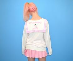 "Sailor theme sweatshirt by Japanese fairy kei brand Milklim with pastel pink ""Strawberry Milk"" printed on the back. Harajuku Girls, Harajuku Fashion, Kawaii Fashion, Sailor Theme, Strawberry Milk, Punk Rave, Sanrio Hello Kitty, Japanese Outfits, Kawaii Clothes"