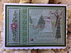 Jayne Nestorenko& winter scene drawings& are exquisite. On their own they are amazingly beautiful but when you se. Christmas Cards 2018, Christmas Scenes, Christmas Wishes, Xmas Cards, Christmas Crafts, Parchment Design, Alphabet Pictures, Parchment Cards, Christmas Characters