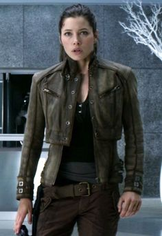 "Stunning ""Melina Leather Jacket"" of #JessicaBiel that we are copied from movie ""#TotalRecall"" @Carrie LaShawn @Caroline Jonattan @Creatrix Tiara @Chrissy Giffin Kuhle"