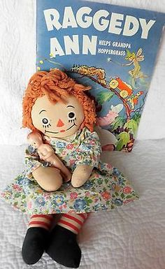"Vintage Georgene 15"" GRUELLE cloth Raggedy ANN doll 1940's,+paper book, toy doll 