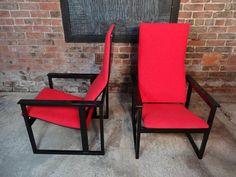 Designer arm chair from Simo Heikkil for Pentik price is for the set. #finland #Suomi # #pentik #design #square #red #black #kvadrant #90s #perpendicular  #tbt #furniturefindingservice #vintage #retro #euvintage