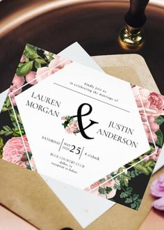 This Elegant Wedding Invitation has a Vintage design featuring blush roses and ample green foliage in a vintage manner over a geometric modern frame white background Combined with black typography. A great fit for a modern floral style wedding. It is part of a set collection with the same design Black & white theme style and color palette of wedding stationery that you can edit and personalize. Creative Wedding Invitations, Letterpress Wedding Invitations, Printable Wedding Invitations, Elegant Wedding Invitations, Wedding Stationery, Simple Elegant Wedding, Blush Roses, Floral Style, Palette