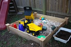 Rock box and painted rocks - instead of a sand box or dirt pile, make a rock box!