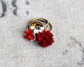 Gorgeous ring set from one of my favourite indie jewellery stores.....the amazing Bullfinch & Barbury on Etsy.    Ring Set - Winter Garden Ring Trio in Candy Cane Colors $70