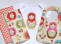 Matryoshka Gift Set for your Baby Girl Onesie Minky by BoCoBaby. $38.00 USD, via Etsy.