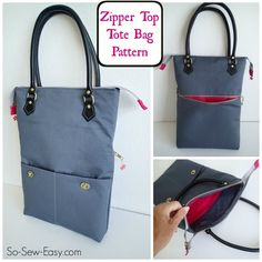 Zipper top tote bag PDF pattern & instructions