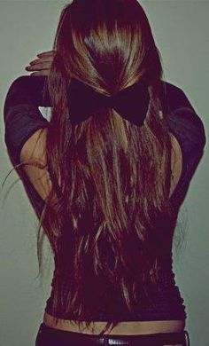 long hair, bow