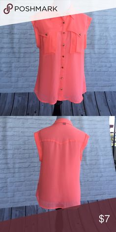 Shirt with cut out sleeves Polyester button down shirt with cut out sleeves. Neon pink with stuffed buttons Forever 21 Tops Button Down Shirts