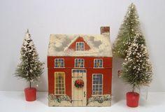 Vintage Christmas Bottle Brush Flocked Trees 7 Inch x 3 Putz Japan C 1930s