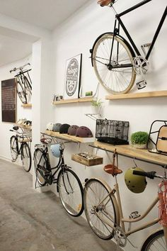 hanging bikes low on wall